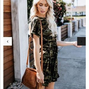 Vici collection camo shirt dress